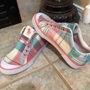 Ralph Lauren Polo Greta Sneakers Pink Blue Sz. 7B